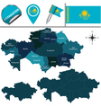 Kazakhstan map with named divisions vector image vector image