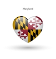 Love Maryland state symbol Heart flag icon vector image vector image