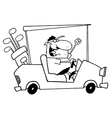 Man on golf cart cartoon vector image vector image