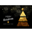 Merry Christmas design of gold low poly pine tree vector image vector image