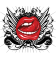mouth with floral and wings vector image vector image