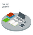 online library isometric concept reading vector image