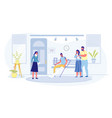 people queue to traumatological cabinet in clinic vector image vector image
