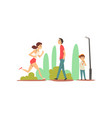 people relaxing and doing sports in park sportive vector image vector image