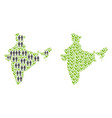 population and flora india map vector image