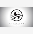 s letter logo design with circle swoosh border vector image