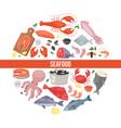 seafood and fish flat cartoon banner vector image