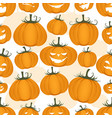 seamless pattern funny pumpkins halloween vector image