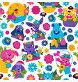 seamless pattern with dogs cats and bright colors vector image vector image