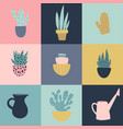 seamless pattern with garden tools and flower pots vector image
