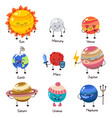 set of doodle cartoon icons planets of vector image vector image