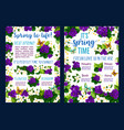 spring flower blossom poster of springtime holiday vector image