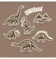 Sticker set of dinosaur skeletons in cartoon style vector image vector image
