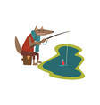 toothy wolf with fishing rod catching fish cute vector image