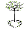 tree with heart vector image vector image