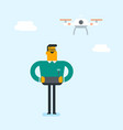 young caucasian white man flying drone vector image vector image