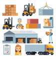 merchandise warehouse and logistic flat vector image
