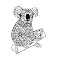 Zentangle style koala Black white hand drawn vector image