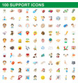 100 support icons set cartoon style vector image