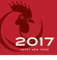 2017 year of the rooster happy new year card vector image vector image