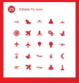 25 fly icons vector image vector image