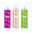 Aluminium Colorful Beauty Spray Can Set vector image vector image