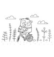 animal monster riding bicycle outline for coloring vector image