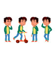 asian boy kid poses set primary school vector image vector image