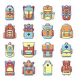 backpack icons set cartoon style vector image