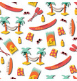beach day seamless pattern palm tree vector image vector image