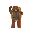 bear travelling with backpack and staff cute vector image vector image
