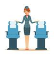 beautiful flight attendant near passenger seats vector image vector image