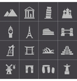 black landmark icons set vector image