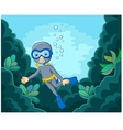 Cartoon boy diving in the sea vector image vector image