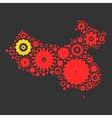 China map silhouette mosaic of cogs and gears vector image vector image