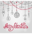 Christmas card with ballgarlands lettering vector image vector image