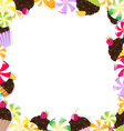 Cupcake Candy Frame vector image vector image