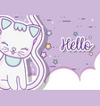 cute cat animal with stars and clouds vector image vector image