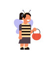 cute girl wear bee costume happy halloween concept vector image