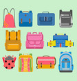 flat school backpack kids boys and girls vector image