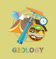 geology emblem with pick mountain and minerals vector image