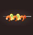grilled shrimp skewers tasty fresh cooked fried vector image vector image