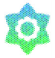 halftone blue-green flower icon vector image vector image