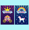 happy birthday dear princess greeting cards set vector image vector image