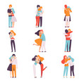 happy young male and female embracing each other vector image vector image
