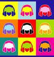 headphones with heart pop-art style vector image vector image