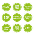 healthy food icon set natural product labels vector image