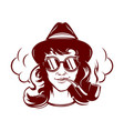 hipster female face with sun glasses smoking tube vector image vector image