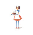 housewife in white apron holding homemade sweet vector image
