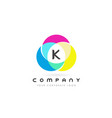 k colorful circular letter design with rainbow vector image